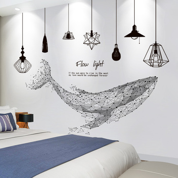 Shijuekongjian, pegatinas de pared de ballena de dibujos animados, pegatinas de pared de candelabro DIY para habitación de niños, sala de estar, decoración del hogar