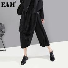 [EAM] pantalones asimétricos negros a rayas con cintura elástica alta, nuevos pantalones holgados ajustados para mujer, tendencia de moda para primavera y otoño 2020 1A933
