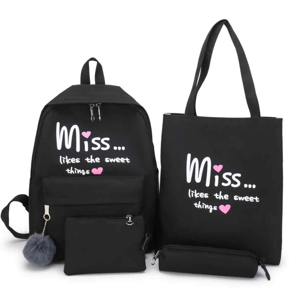 WENYUJH 4 unids/set mochila escolar para niñas adolescentes libro Nylon impermeable Multi bolsillo mujeres Mochilas de viaje