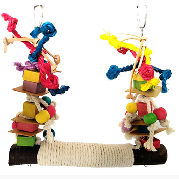 Parrot Chewing Bite Hanging Cage Pet Bird Parrot Chew Toy Bird Perch Leather Colorful Wood Building Block Cotton Rope Big Swing 1