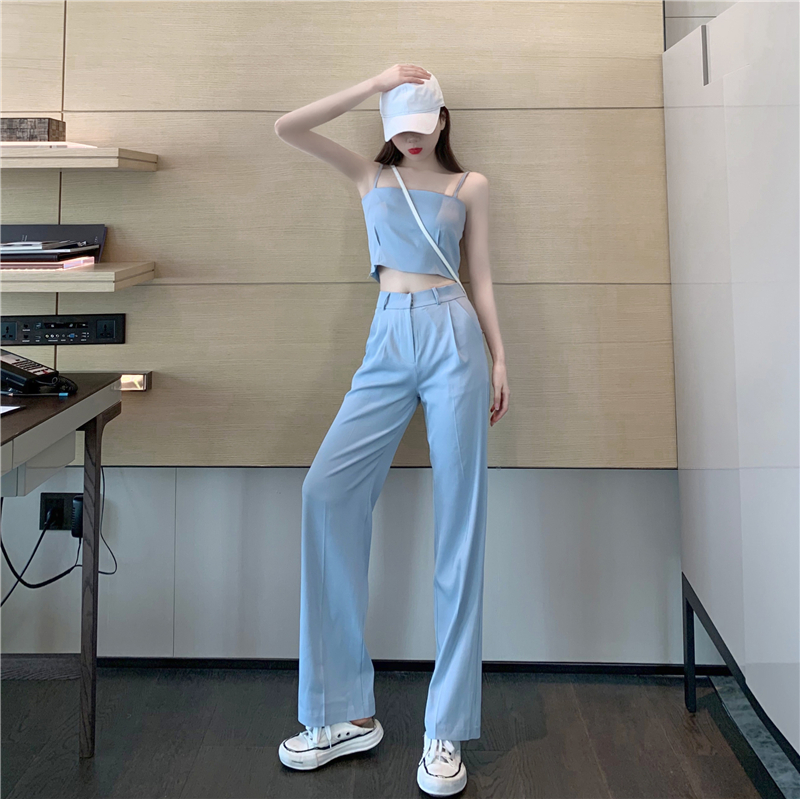 Spring Summer New Fashion Casual High Waist Wide Leg Pants Women Slim Elegant Trousers