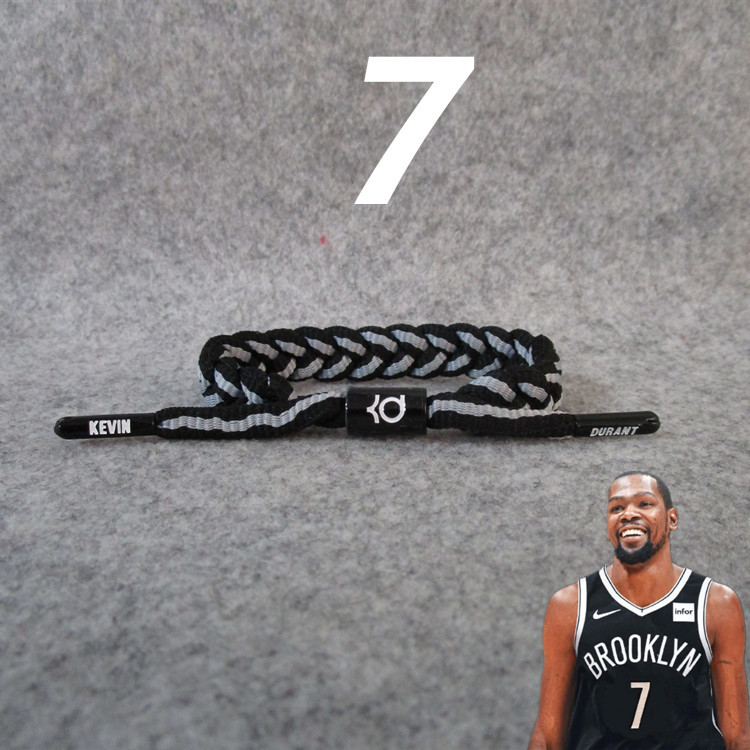 Basketable Nets Team No. 7 Star Kevin. Durant Shoe Lace Rope Braided Bracelet Wrist Strap Fans Accessories New Style