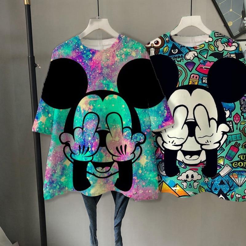 Disney cartoon 3D Mickey Tshirt Tops Summer Ullzang oversized Women T shirts hip hop Streetwear Harajuku short sleeve tshirt|T-Shirts| - AliExpress