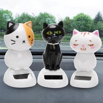 Solar Powered Shaking Cat Kitten Doll Toy Car Ornament Decoration Handicraft image