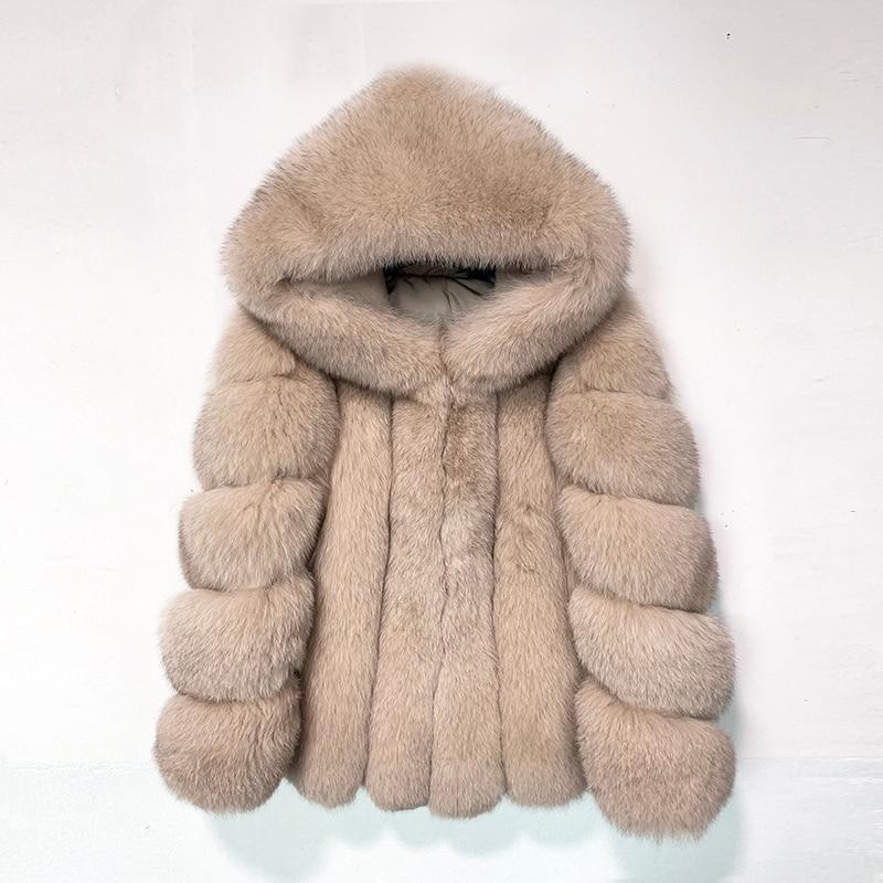 Rf1991B hiver manteau de fourrure de renard avec grande capuche Super chaud en cuir véritable femme vraie veste de fourrure