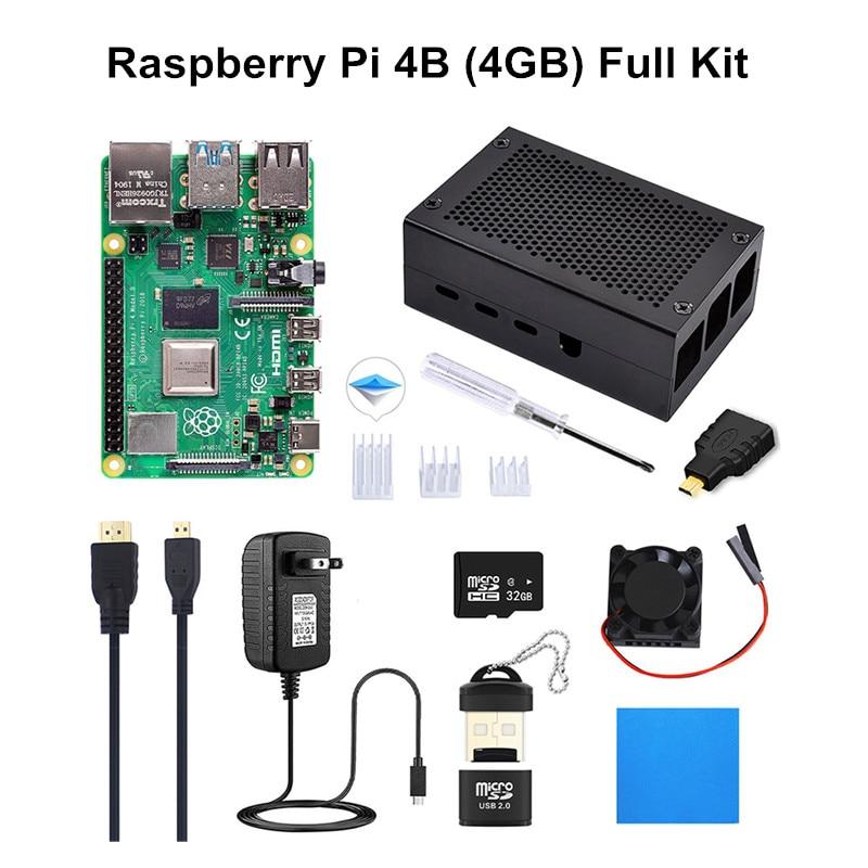 raspberry pi Original 4GB RAM Raspberry Pi 4 Model B DIY Kit Pi 4B with Cooling Fan+Heat Sink+Power Adapter+Case Box+32GB Micro SD+HDMI Cable (1)