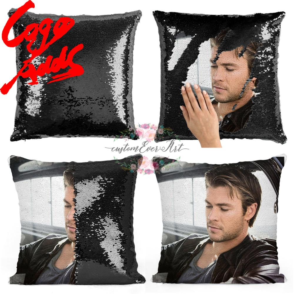 Chris Hemsworth Sequin Pillow   Sequin Pillowcase   Two Color Pillow   Gift For Her   Gift For Him   Pillow   Magic Pillow
