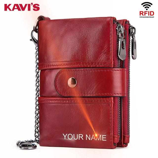 KAVIS Leather Free Engraving Quality Wallet for Women-Short