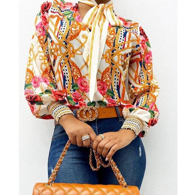 Scarf Neck Baroque Print Top Blouses Women Retro Print Lantern Sleeve Blouse Shirt Elegant Office Lady Shirt Fashion 1