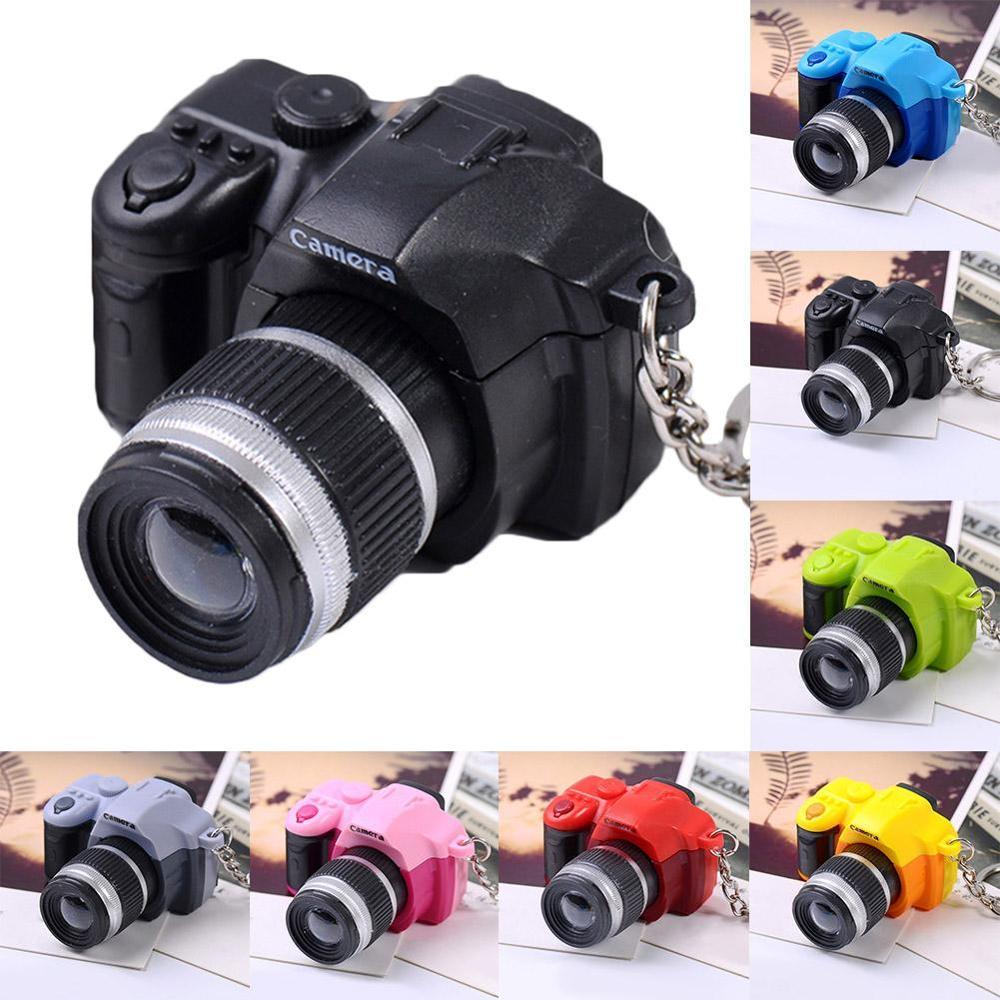 Creative Camera Keychain Digital SLR Camera Toy LED Luminous Glowing Pendant Key Chain Cartoon Women Car Keychains Key Ring