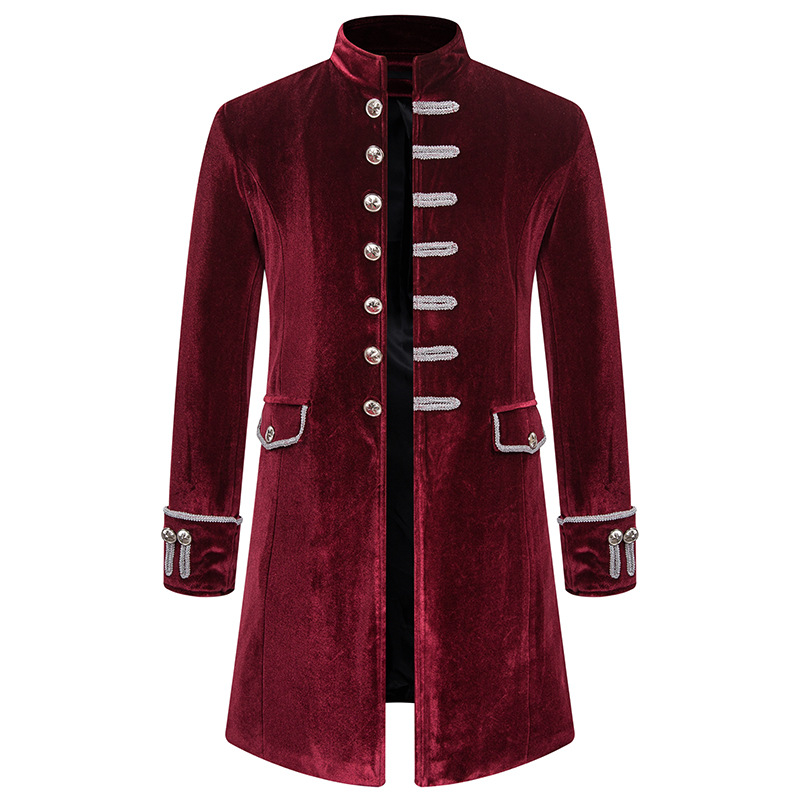 Mens Vintage Wine Red Velvet Tailcoat Jacket Steampunk Formal Gothic Victorian Coat Costume Party Cospaly Prom Tuxedo Jacket Men
