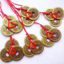2 conjuntos de 3 moedas feng shui chinês para riqueza e sucesso sorte imperador oriental qing dinheiro antigo pingente melhores desejos presentes