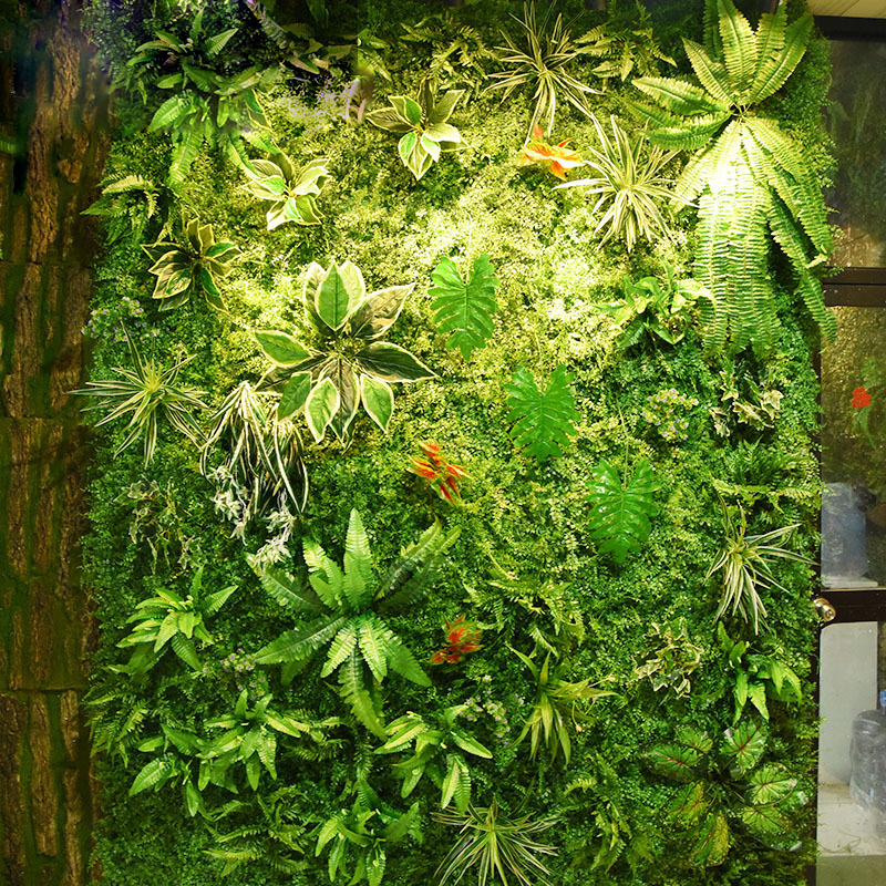 2mx1 2m Artificial Plant Wall Flower Wall Panels Green Plastic Lawn Tropical Leaves DIY Wedding Home Decoration Accessories