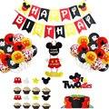 Микки Маус тема вечерние праздничные баннер вечерние для маленького мальчика одноразовая пластина салфетка для торта для детей пользу Фла...