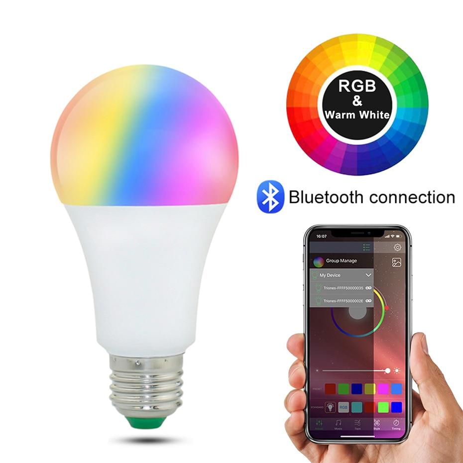 20 режима умный светильник лампочка Bluetooth светодиодных ламп Беспроводной Управление E27 B22 15 Вт волшебный RGB лампа украшение дома совместим с ...
