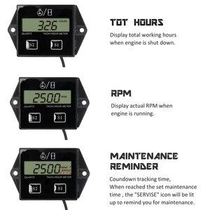 Image 2 - Digital del motor tacómetro medidor de horas tacómetro medidor para 2 o 4 tiempos motor de Gas inductivo de motores de la motocicleta barco