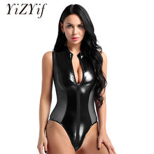 Sexy Women bodysuit Shiny Patent Leather and Sheer Mesh Splice Zipper Open Crotch High Cut Bodysuit Thong Swimsuit Latex Catsuit(China)