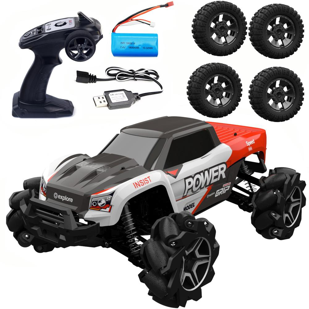 RBRC RB1277A 1/12 2.4G 4WD 35km/h Mecanum Wheel RC Car Electric Drift Vehicle Full Proportional RTR Model with 4 Tires