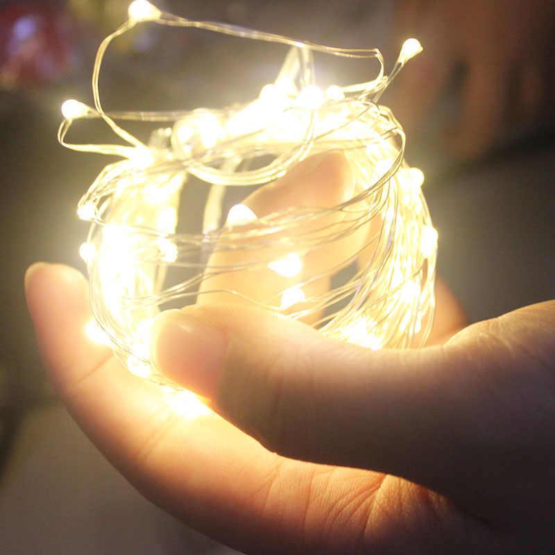 Светодиодный строка светильник s 10 м 5 м 2 м серебряной проволоки гирлянда домашняя Рождественская Свадебная вечеринка украшения питание от 5V Батарея USB ФЕЯ светильник