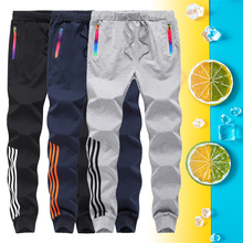Striped Trousers Joggers-Pants Fitness Men Streetwear Casual Mens Fashion Cotton Full-Length