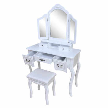 Vanity Set with Flip Top Mirror Makeup Dressing Table Write Desk with 5 Storage Drawers Makeup Cushioned Stool Bedroom Furniture
