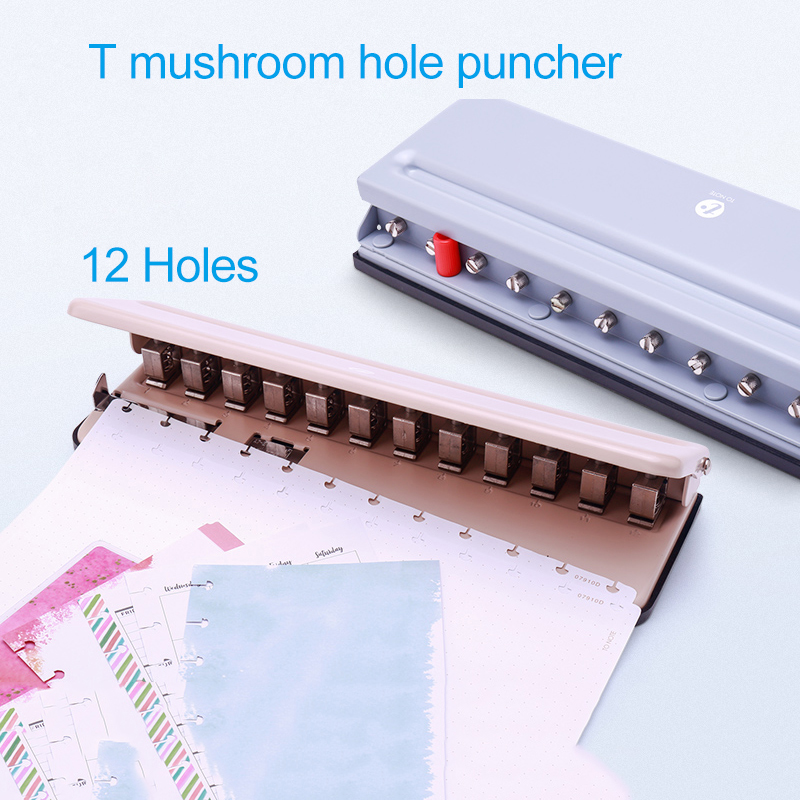 T Mushroom Hole Punch 12 Holes Puncher Disc Ring Bound System Notebook Accessories A4/A5/A6/A7/B5 Happy Planner Binding Supplies