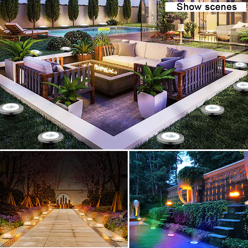 Round Shaped In Ground Solar Outdoor light with 8 LED and Infrared Light Sensor for Garden Pathway 3
