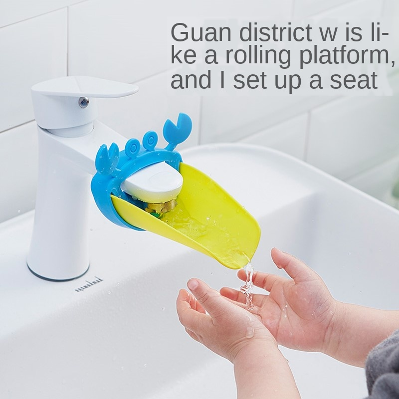 Silicone Baby Tubs Crab Design Kids Faucet Extender Children Hand Washing Extender Bathroom Sink Rubber Water Reach Faucet Sink