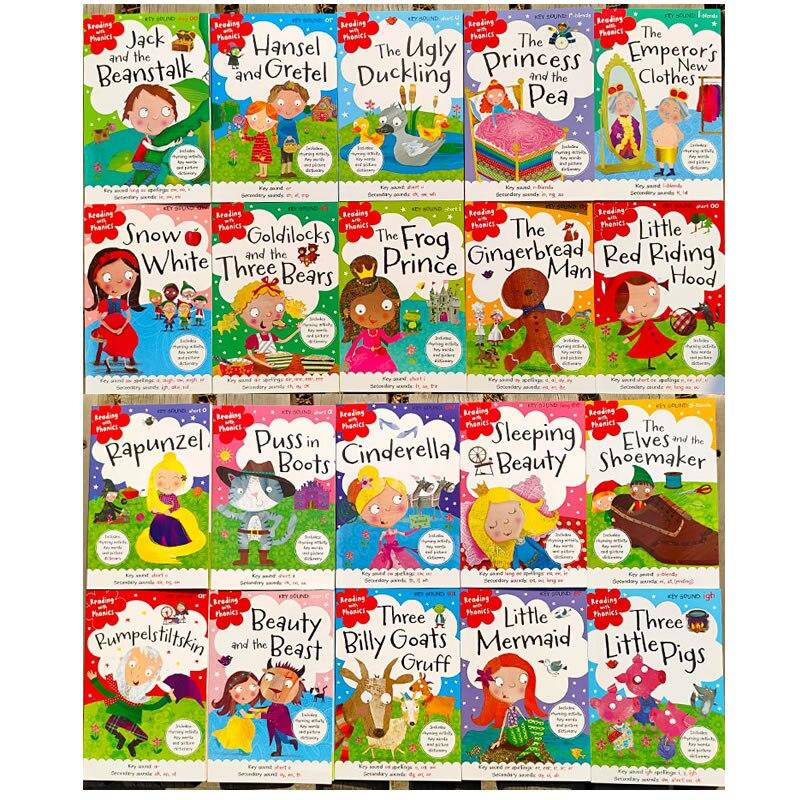 20 libros/juego de fonics, libro de cuentos de hadas inglés, capota roja para montar, Educación Temprana, libros de lectura en inglés para niños - 3