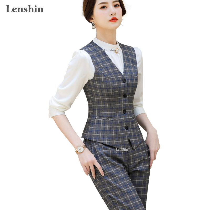 Lenshin 2 Piece Set Suit Formal Plaid Pant Suit Waistcoat Vest For Women Sleeveless Blazer Office Lady Business Wear