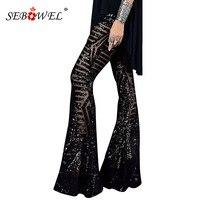 SEBOWEL Women Black Silver Sequin Glitter Flare Pants Sequin Trousers for Female Party Dance High Waist Bell Bottom Long Pants