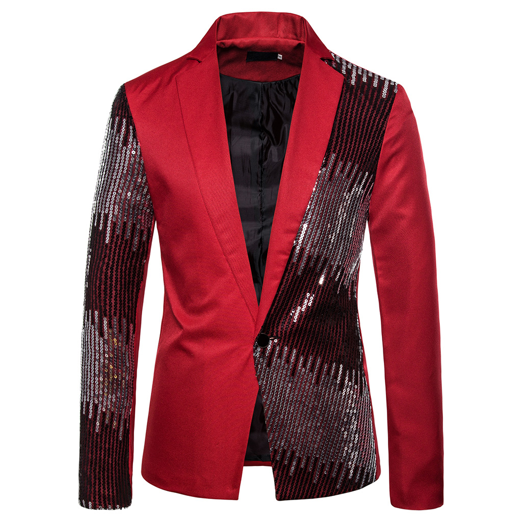 CYSINCOS Shiny Gold Sequin Glitter Embellished Blazer Jacket Men Nightclub Prom Suit Blazer Men Costume Homme Stage Clothes