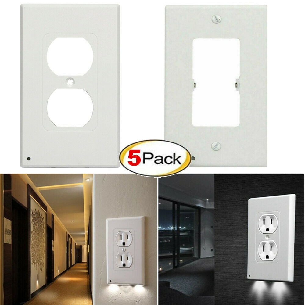 High-quality Durable Convenient 5x Outlet Cover Duplex Wall Plate Led Night Light Cover Ambient Light Sensor For Hallway Bedroom