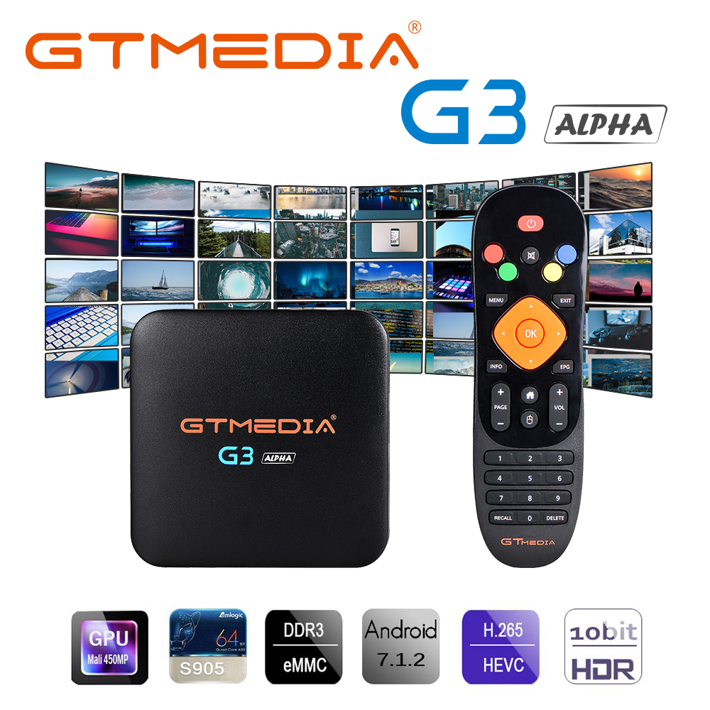 GTMEDIA G3 Android tv box 7.1 lecteur multimédia 2G 16G Bluetooth 4.0 4K HDCP widevine netflix 3D jeu vidéo Smart Tv Box iptv m3u