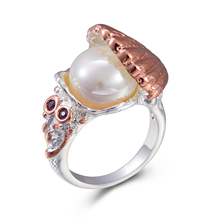 新入荷しました女性の結婚指輪真珠内側シェルローズゴールドシルバー CZ ファッションジュエリー持っている必要