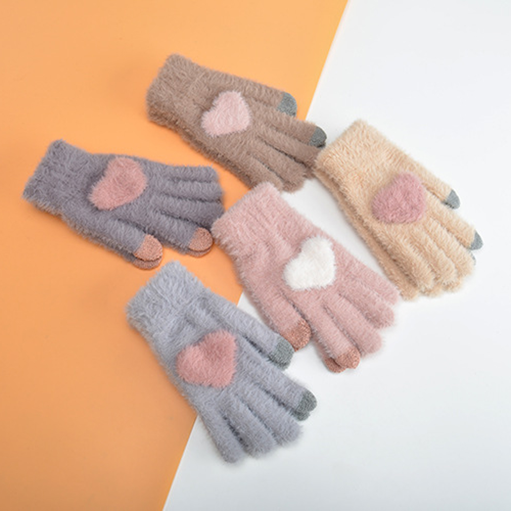 Touch Screen Knitted Gloves With Pink Heart Warm Mittens Winter Plush Full Finger Cycling  Solid Woolen Gloves Mittens Guantes