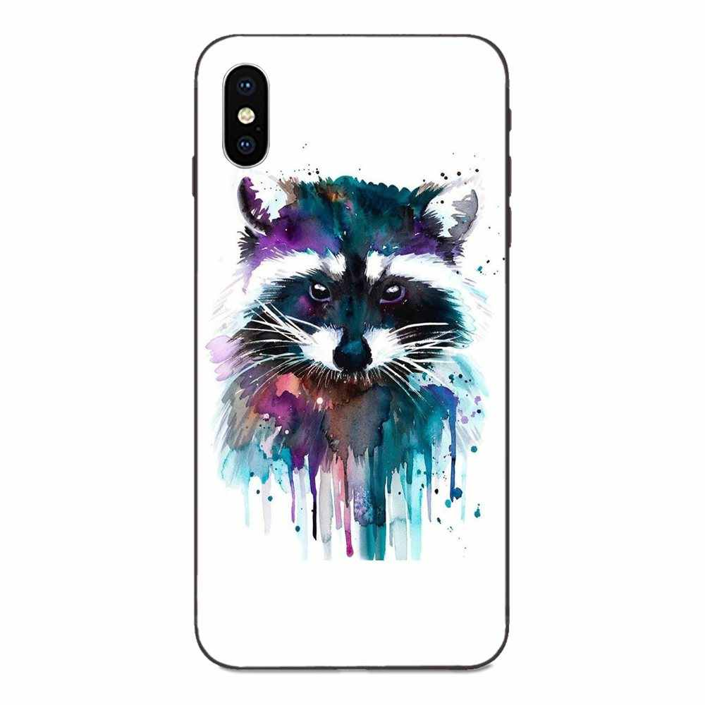 TPU Design For Galaxy C5 C7 J1 J2 J3 J330 J5 J6 J7 J730 M20 M30 Ace Core Max Mini Plus Prime Pro Raccoon Art Print Lovely