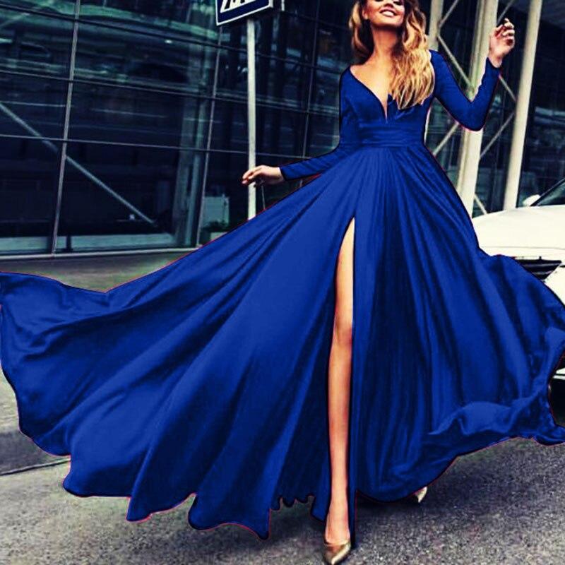 U-SWEAR 2019 Sexy Deep V-Neck Full Sleeve Split Evening Dresses Party Prom Formal Gowns Long Dresses Vestidos Robe De Soiree