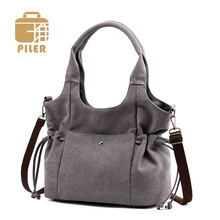Piler Fashion Design Women Canvas Bag Tote Ladies Bag String Canvas Crossbody Bags for Women 2019 Casual Shopping Shoulder Bag trendy color block and canvas design women s tote bag