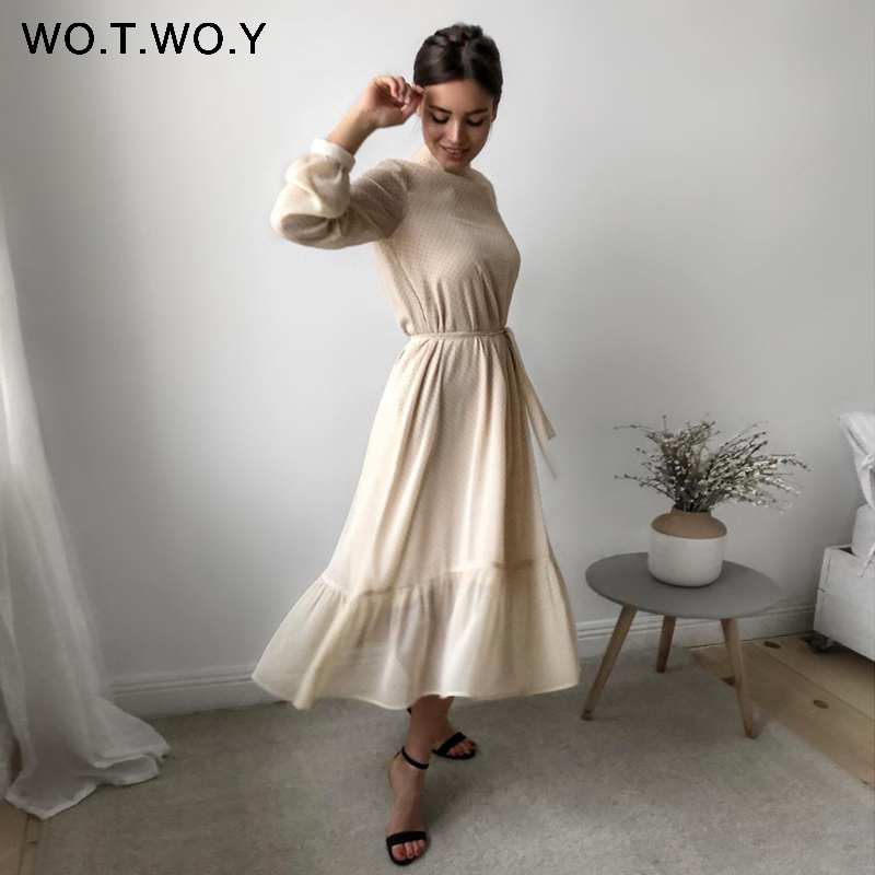 WOTWOY 2020 Spliced Polka Dot Dresses Women Summer Sweet Sashes A-Line Dress Woman O-neck Mid-Calf Long Dress Lady Kawaii Korean