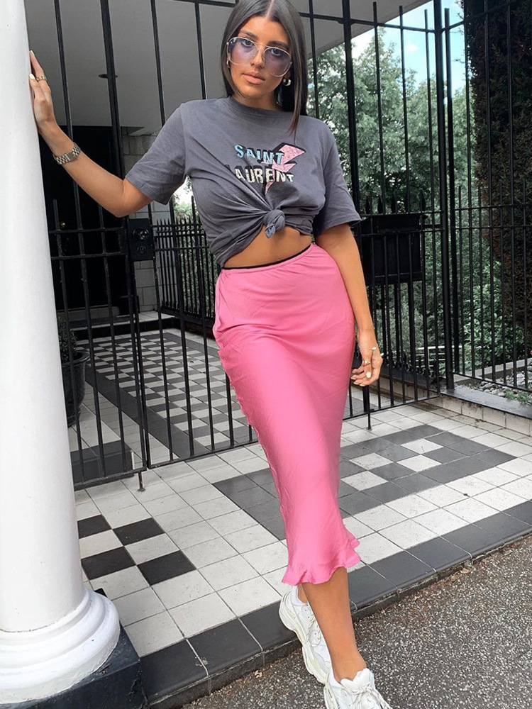 Satin Silk Midi Skirt High Waist Solid Streetwear 2019 Autumn Winter Clothes Casual Vacation Holiday Beach