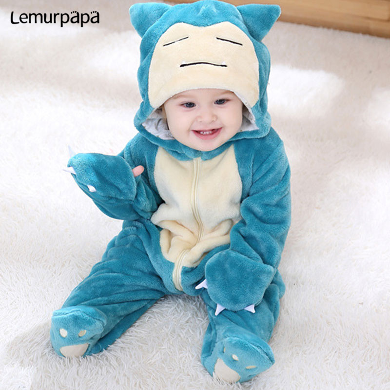 Snorlax Onesie Baby Romper Infant Cute Clothes 0 2 Y New Born Boy Girl Klgurumis Cartoon Funny Costume Pajama Soft Warm OutfitRompers   -