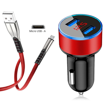 Car Charger For Phone Huawei P10 P9 P8 Lite 2017 P Smart 2019 Y5 Y6 Y7 Xiaomi Redmi Micro USB Cable in LCD Display Fast Charging image
