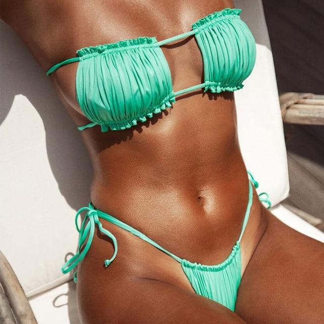 Peachtan Pleated Bikini Set