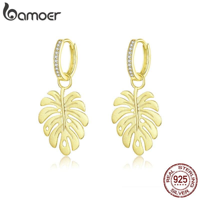 bamoer Summer Gold Color Drop Earrings Femme Bohemia Style Leaf Dangle Earring for Women Sterling Silver Luxury Jewelry BSE223(China)