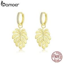 bamoer Summer Gold Color Drop Earrings Femme Bohemia Style Leaf Dangle Earring for Women Sterling Silver Luxury Jewelry BSE223