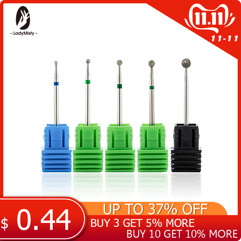 4Size Spherical Head Diamond Nail Drill Bits Rotary Bur Cuticle For Manicure Electric Nail Drill Accessories Nail Tools