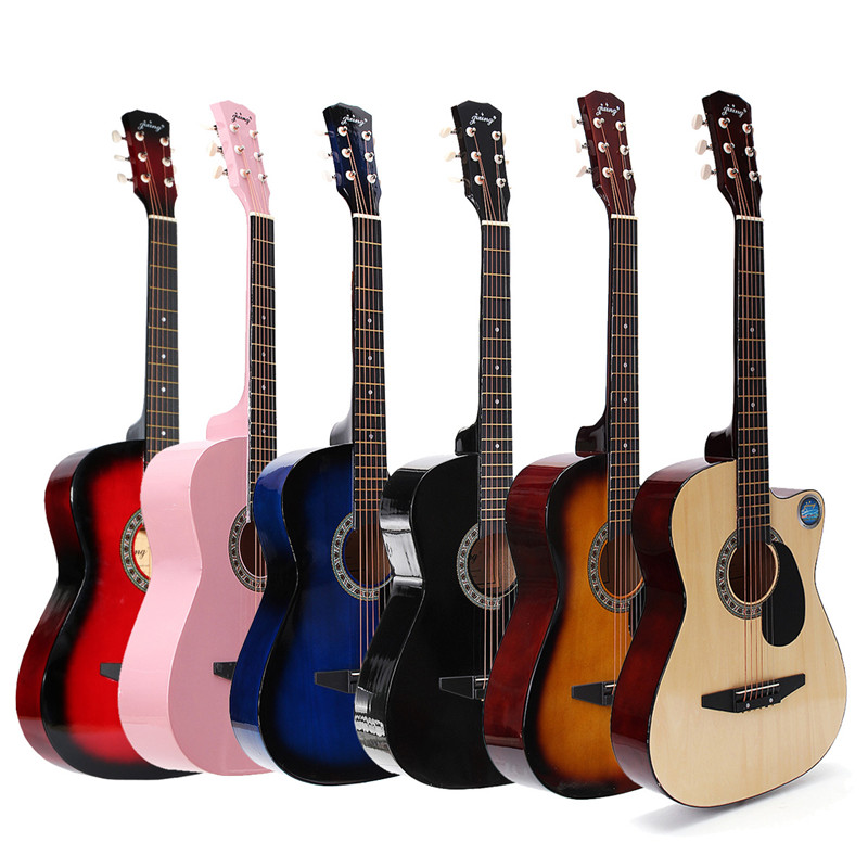 38inch Guitar Folk Acoustic Guitar 6 string Basewood Guitar With Backpack Pick Capo Strap Beginners
