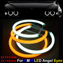 Car-styling Dual color WHITE Yellow 2x(131MM+146MM) LED Halo Rings Cotton Light For BMW E46 E90 E91 LED SMD Angel Eyes Lamp цена 2017