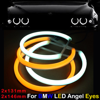 цена на Car-styling Dual color WHITE Yellow 2x(131MM+146MM) LED Halo Rings Cotton Light For BMW E46 E90 E91 LED SMD Angel Eyes Lamp